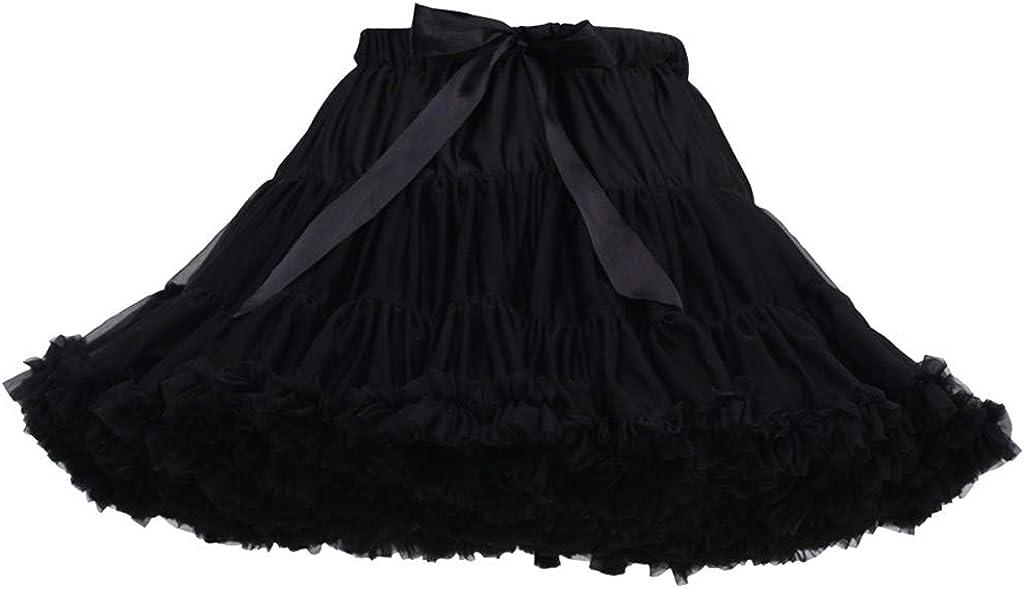 Basysin Womens' Pleated Solid Layered Gauze Mesh Skirt Adult Tutu Party Dance Mini Skirt
