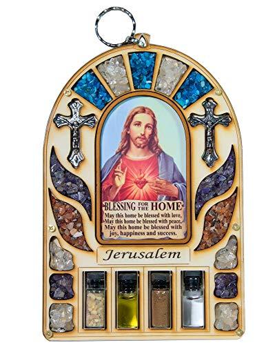 Talisman4U Wanddekoration aus Holz, Heiliges Herz Jesus, Jerusalem-Kreuz, katholisches Geschenk, Heiliges Land