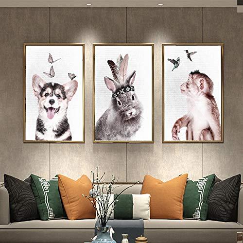HYY-YY Toile Peinture à l'huile Animal Chien Lapin Canard Singe Affiche Chambre d'enfants Têtes de lit Décor Peintures Image imprimée s15.7 x 23.6 (40x60cm) x3 sans Cadre