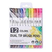 大人の塗り絵用の細心のペンマーカーペン、2色のペン先用の12色、メモを取るための細心の注意を払ったペンマーカープランナーの手書きの書道の描画スケッチ