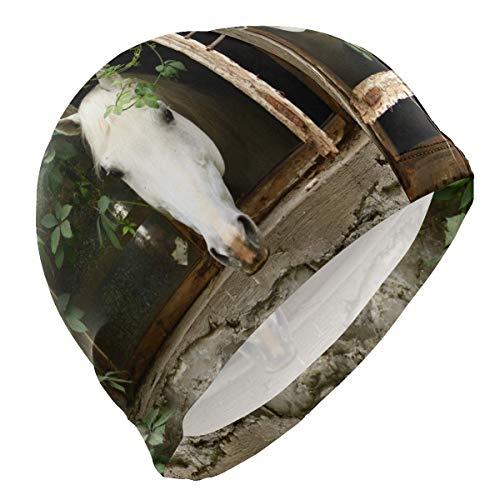 dilidy Badekappe No Slip Ears Protect Swimwear Swimming Pool Badehut Unisex Adult Hat Cover One Size Whitehorse