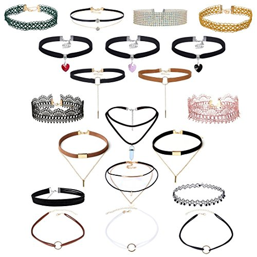 Tpocean Black Leather Double Layered Choker Necklace with Rhinestone Crystal Heart Pendant Gold Chain Velvet Lace Neck Collar Choker Necklace for Girls Women 20 PCS