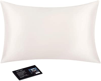 Silk Pillowcase for Hair and Skin, 22 Momme 6A Long Fiber 100% Mulberry Silk Bed Pillow Case with Invisible Zipper, Ivory White, Queen