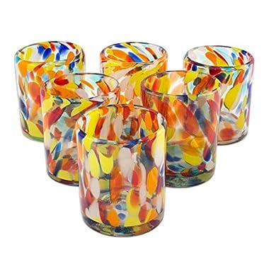 NOVICA Hand Blown Recycled Glass Multicolor Tumbler Glasses, 12 oz. 'Liquid Confetti' (set of 6)