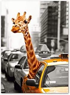 dayanzai New York Giraffe Taxi London Vintage Wall Art Canvas Painting Landscape Nordic Posters and Prints Wall Pictures for Living Room 60X80Cm No Frame