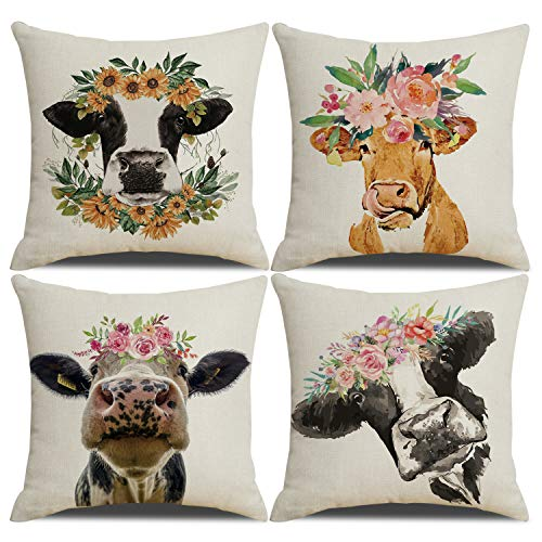 YCHZ Decorative Cow Throw Pillow Cases 18x18 inch Animal Pillow Cover Set of 4 Watercolor Linen Pillow Covers,Farmhouse Home Decor Cow Cushion Covers with Hidden Zipper for Sofa Couch Bedroom (Cow)