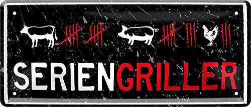 """Cartel de chapa con texto en alemán """"SERIENGRIELLER"""" decorativo, cartel de metal para jardín o terraza, idea de regalo para cocineros 28 x 12 cm"""