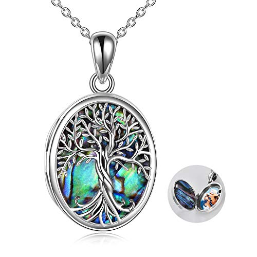 URONE Personalized Sterling Silver Family Tree of Life Locket Necklace That Holds Pictures,Abalone Shell Oval Pendant Necklace Gifts for Women