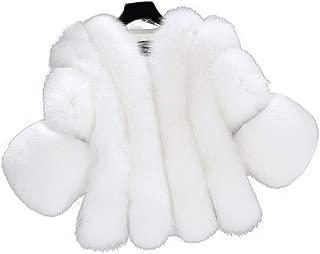 LUKEEXIN Women's Elegant Open Front Soft Faux Fur Short Coat