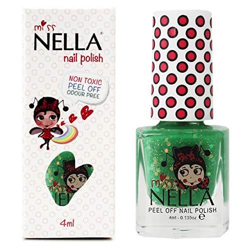 Miss Nella KISS THE FROG- Spezieller Grün Nagellack mit Glitzer für Kinder, Peel-Off-Formel,...