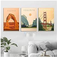 DLFALG 北欧のヴィンテージ旅行都市風景ポスターサンフランシスコアーチーズ国立公園キャンバス絵画壁アート写真家の装飾-40x60cmx3フレームなし