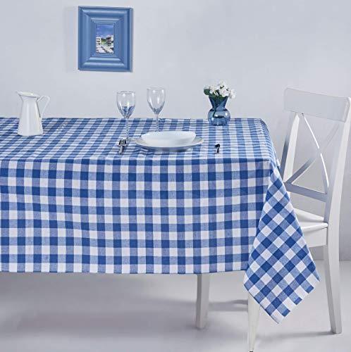 ElfRoutes Bunte Karierte Tischdecke - 100% Baumwolle - 155 x 220 cm - Blau Tischdecke - Freudiges Küchenzubehör: Tischdecke für drinnen und draußen, Tischdecke für Partys