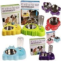 肥厚2ボウル犬のボウルペット丼を供給ステンレス鋼の犬のボウル猫のボウル犬流域猫流域自動飲料水 (OPP Frog,purple)