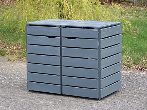 2er Mülltonnenbox / Mülltonnenverkleidung 240 L Holz, Deckend Geölt Tannengrün - 2