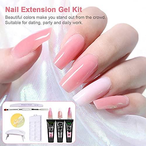 Gel 3 colores de manicura de secado rápido Lámpara de uñas UV Moldes de uñas Kit de extensión de uñas (kit 1)