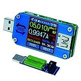 USB電圧計、Bluetooth Type C USBテスターメーターUSB電圧メーターおよび電流テスター、1.44インチ5AカラーLCDディスプレイパワーテスターマルチメーター、QC 2.0 3.0 日本語説明書付