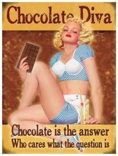 Schokolade Diva, Schokolade ist die Antwort, die kümmert ES, was die Frage ist. Sexy Pin Up, 30's 40's Style. Für Haus, Home, Bar, Küche, Cafe, Geburtstage. Funny. Metall/Wandschild aus Stahl, stahl, 9 x 6.5 cm (Magnet)