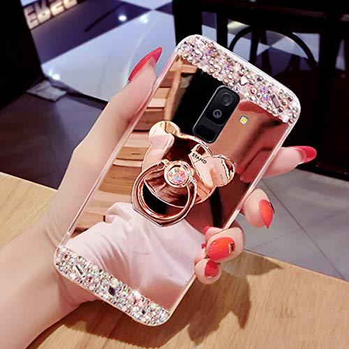 JAWSEU Funda Compatible con Samsung Galaxy A6 Plus 2018,Brillante Diamantes Suave TPU Gel Silicona Carcasa con Anillo de Oso Ultra Fina Anti-arañazos Resistente Protectora Parachoques Funda,Oro Rosa