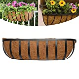 BERNIE ANSEL English Horse Trough Planters, 24-Inch Trough Planter with Coco Liner Trough and Mounting Hook Kit, Flat Iron Series Hanging Deck Railing Planter Boxes Window Box 1PCS