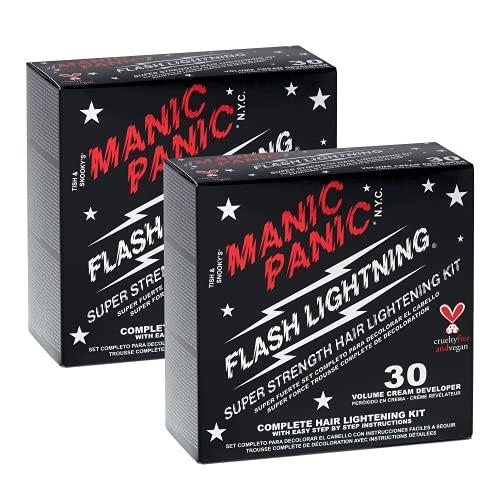 Manic Panic Flash Lightning Hair Bleach Kit (2-Pack) 30 Volume Cream Developer, Hair Lightener Kit for Light, Medium Or Dark...