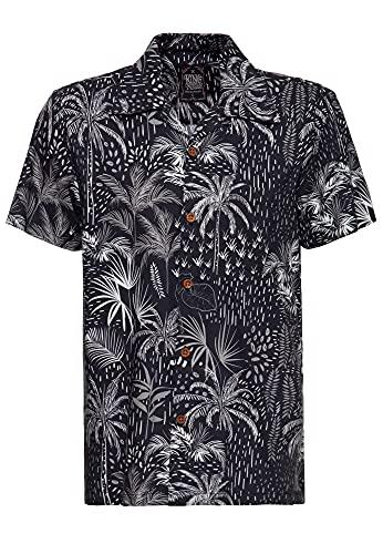 King Kerosin Camisa de manga corta para hombre   Camisa hawaiana   Corte recto   Camisa mamá   Estampado abstracto Palms Negro XXL