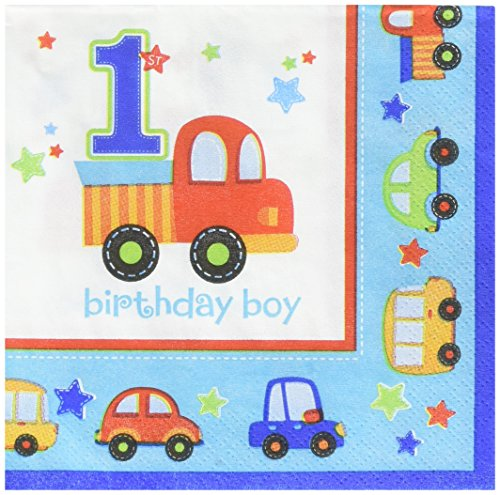 New amscan All Aboard! Birthday Beverage Napkins Multi Colored Paper 5 x 5 Folded 18-Piece Childre...