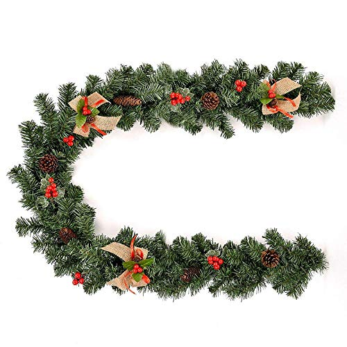 Guirnalda navideña de 1,8 m (6 pies), Guirnalda navideña preiluminada con Adornos de piña para árboles de Navidad, chimeneas, escaleras, Puertas, decoración de jardín, Patio