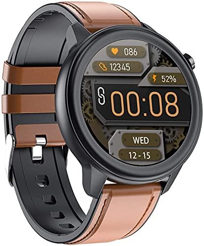 NXL Smart Watch Fitness Tracker Relojes con medición de Temperatura Corporal Frecuencia cardíaca Oxígeno en Sangre (SpO2) Monitor de presión Arterial Reloj Digital Compatible con iOS Android,Marrón