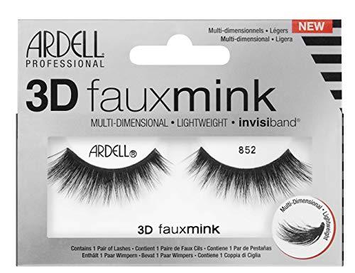 ARDELL Professional 3D Faux Mink 852, Wimpern aus Synthetikhaar, vegan, schwarz, black (ohne Wimpernkleber) ultraleicht, flexibel und wiederverwendbar