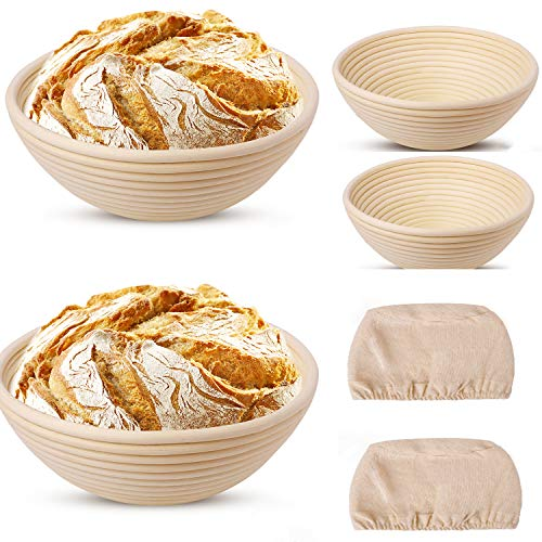 Banneton Bread Proofing Basket, Set of 2 Round Dough Bowl with 2 Cloth Liners for Sourdough Bakers Baking for Gift Professional and Home Bakers