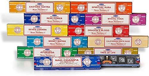 Satya Räucherstäbchen, Set C, 12 x 15 Gram Packs