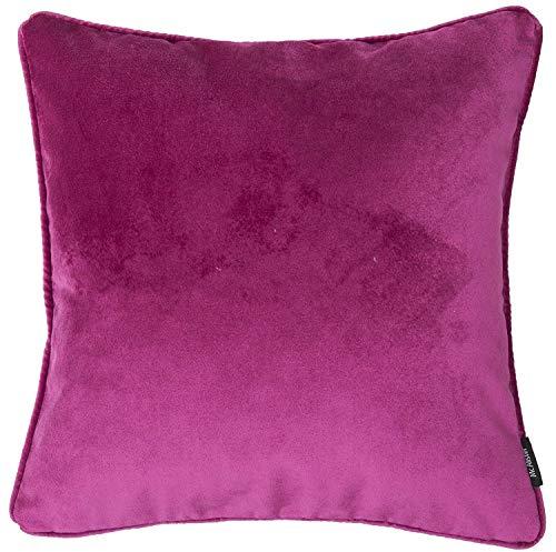 McAlister Textiles Matter Samt | Gefülltes Kissen für Sofa, Couch in Fuchsia Pink | 60 x 60cm | griffester Samt edel paspeliert |...