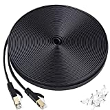 Ethernet Cable 50 ft, Cat 7 Flat High Speed 10 Gigabit LAN Network Patch Cable with Clips, Faster Than Cat6 Cat5e, Shielded RJ45 Connectors for Xbox One, Switch, Router, Modem, Printer- Black(15M) routers Apr, 2021