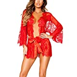 Erótica Kimono de Encaje Transparente con Cinturón Satén, Sexy Conjunto de Lencería con Mangas Largas Ropa Interior de Dormir Camisón Traje de Baño para Mujer Damas + Tanga G-String(Rojo)