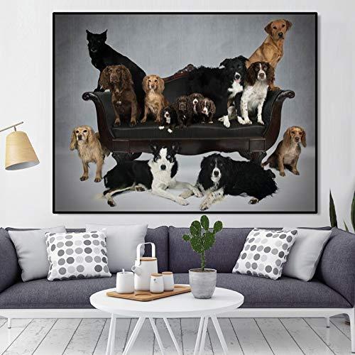 KWzEQ Cartel Moderno de Animales e impresión de Lienzo de Perro decoración de Sala de Estar Familiar Linda,Pintura sin Marco,75x100cm