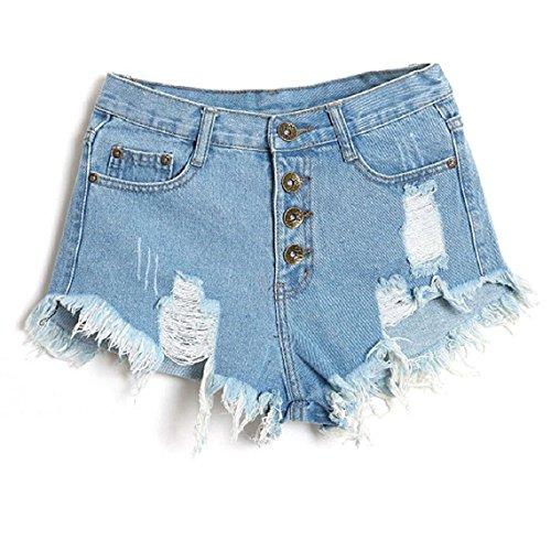 Minetom Mujer Verano Pantalones Cortos Vintage Denim Cortocircuitos Calientes Moda Cintura Alta Shorts Azul Claro 36