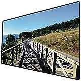 Tappetino per mouse da gioco [600x300 x 3 mm],Spiaggia, sentiero in legno da Sea Bridge Placid Tranquillo tempo da solo piante albero guarigione s Base antiscivolo 45x45cm