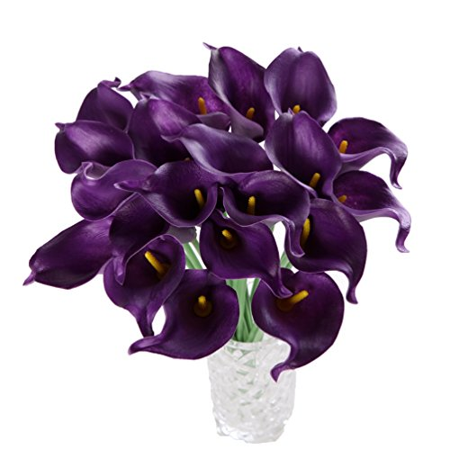 Houda Calla Lily Bridal Wedding Artificial Fake Flowers Party Decor Bouquet PU Real Touch Flower 10PCS (Purple)