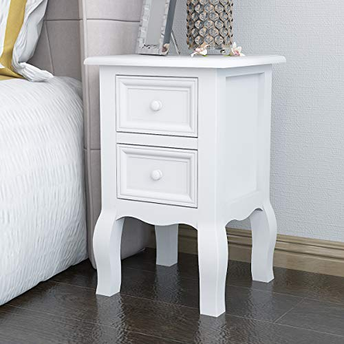 Radelldar Bedside Table White Bedside Cabinet Wood Side Table Storage Unit with Drawer Bedroom Furniture (White)