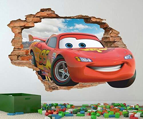 QAW Pegatinas de pared'Car toyman wall decal light McQueen etiqueta de la pared, adhesivo de vinilo desmontable'
