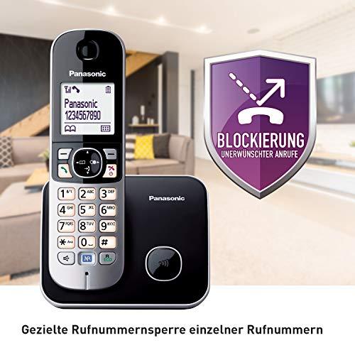 Panasonic KX-TG6811GB DECT Schnurlostelefon (strahlungsarm, Eco-Modus GAP Telefon, ohne Anrufbeantworter, Festnetz, Anrufsperre) schwarz