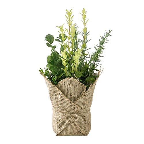 SPICE OF LIFE(スパイス) 造花 ジュートポット入り フェイクグリーン ミックスハーブ 直径15cm 高さ34cm TADY7050