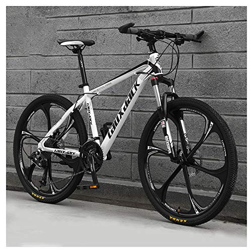 COSCANA Mountain Bike 26 Inch 21-30 Speed ​​Bicycle, MTB With Dual Disc Brakes, Front Suspension, Mountain Bikes for Adult and TeensWhite-21 Speed