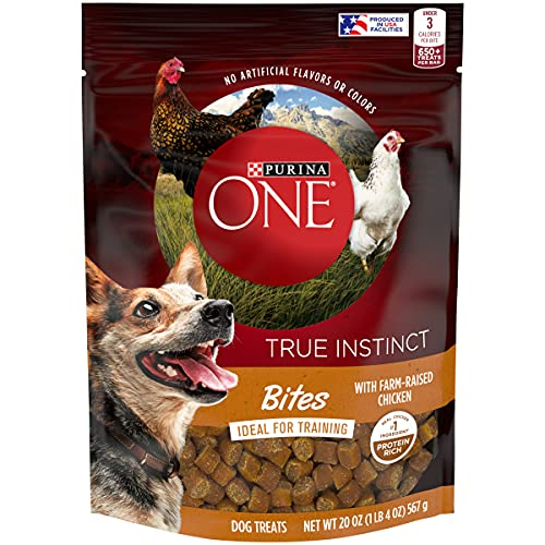 Purina ONE Made in USA Facilities Dog Training Treats, True Instinct Bites with Farm-Raised Chicken - 20 oz. Pouch