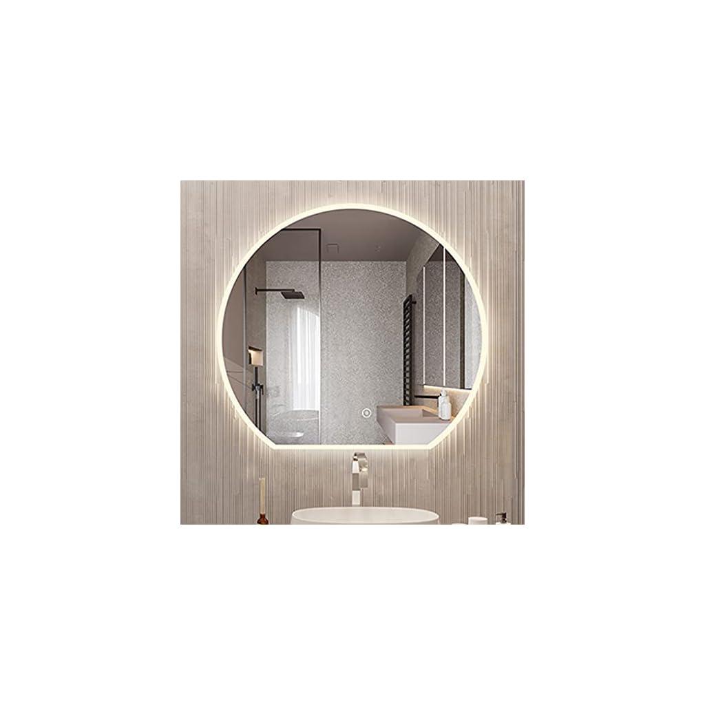 ZHANGDONG D50-80CM Miroir de Salle de Bain à LED Miroir Mural de Vanité Créatif sans Cadre en Demi-Cercle Lumière…