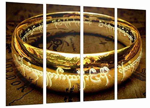 MULTI Houten Afdrukken Art Print Box Ingelijste Beeld Wandopknoping - Power Ring, De Heer van de Ringen, (Totale Grootte: 51,6
