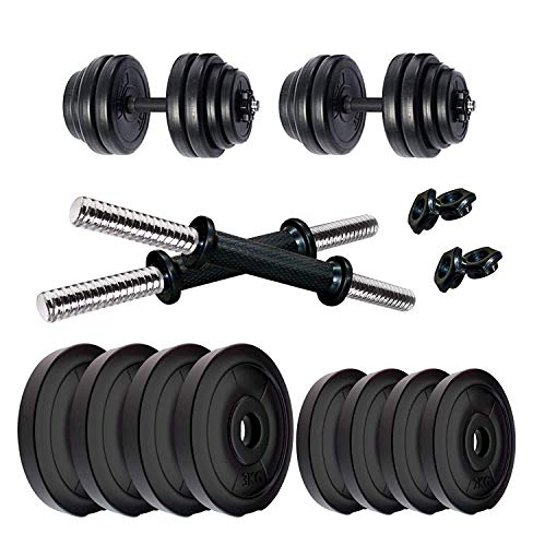 SUS Products 04 KG to 20 KG Home Gym Combo of PVC Dumbbell Plate Set with Dumbbell Rods Exercise & Fitness Sets (08)