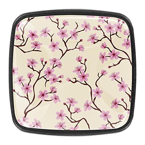 Perillas de cristal con diseño de flores de melocotón rosa para cajones de aparador, pomos de cristal para armario de cajón, para aparador, cocina, armario