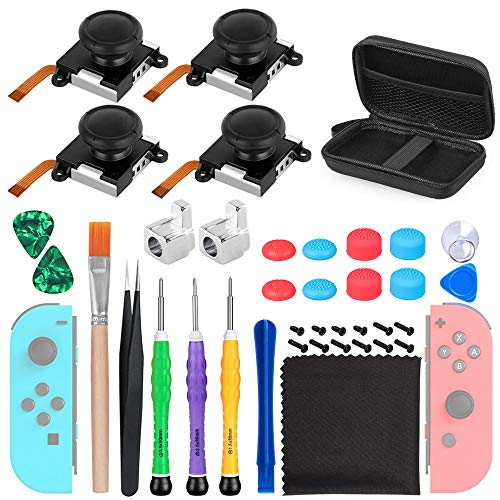 SUPERSUN 4 x Reemplazo de Joystick para Nintendo Switch Joy Con, 38...