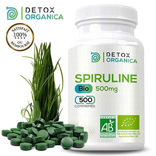 Detox Organica Spirulina Compresse-500 Compresse da 500 mg : alta concentrazione-Ricca di Ferro e beta-carotene – Marca Francese – Prodotta in Inghilterra